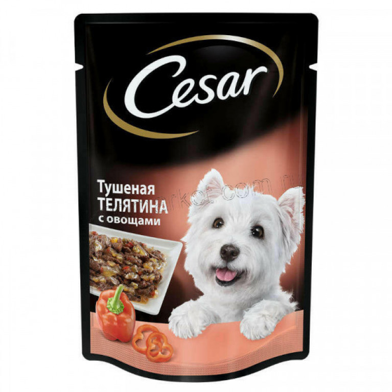 CESAR Влажный корм для собак (пауч тушеная телятина с овощами) 100г, 5 шт
