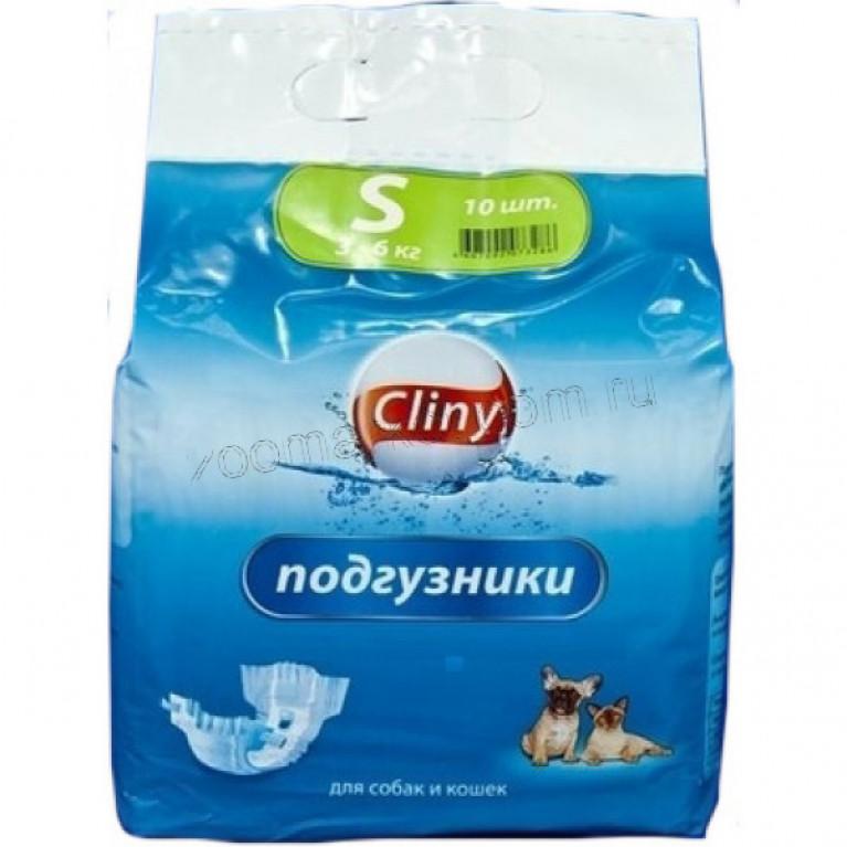 Cliny подгузники для собак и кошек  3-6 кг  S 10шт.