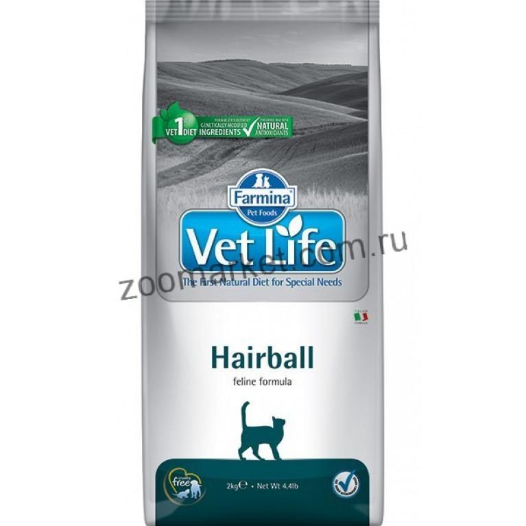 Farmina Vet Life Cat Hairball/Диетическое питание для кошек выведения шерстяных комочков