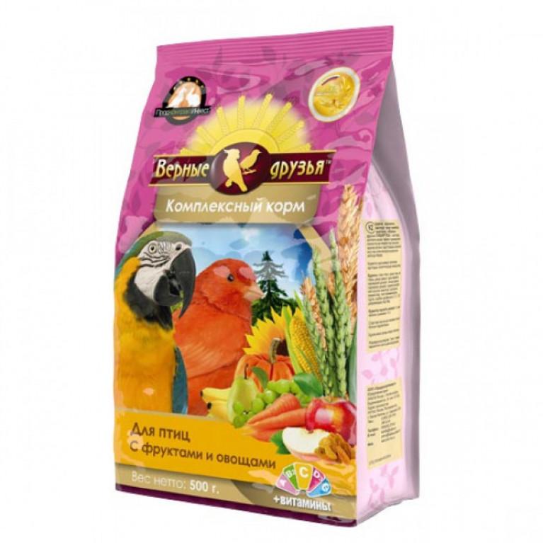 Верные Друзья корм для птиц с фруктами и овощами 500гр (мягкая упаковка)