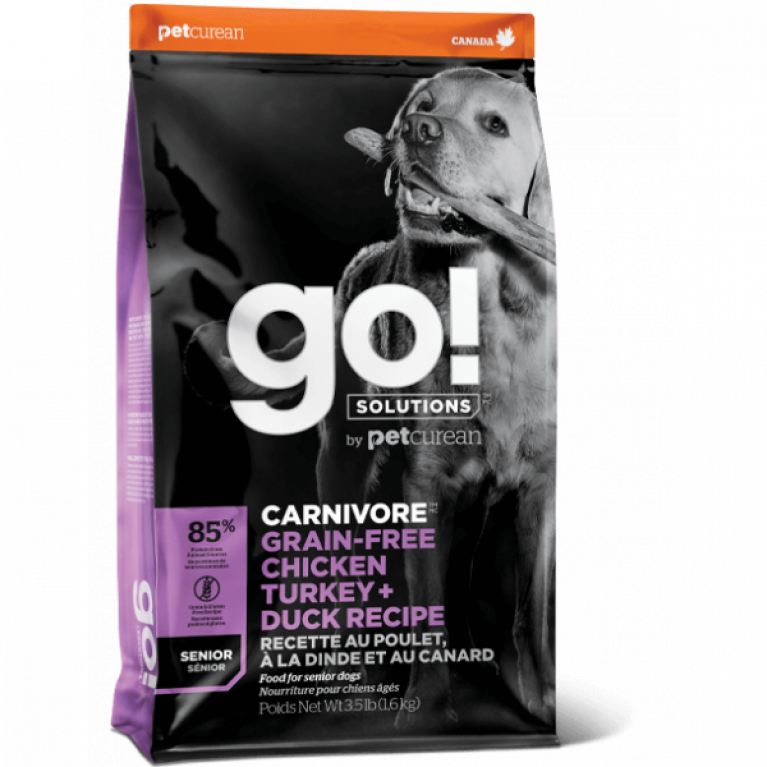 GO! CARNIVORE GF Chicken,Turkey + Duck Senior Recipe  Беззерновой корм для Пожилых собак всех пород 4 вида мяса(Индейка, Курица, Лосось, Утка)