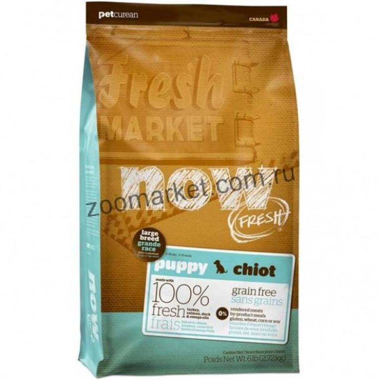 Now Fresh Puppy Large Breed Recipe Grain Free/Беззерновой корм для щенков крупных пород с индейкой, уткой и овощами