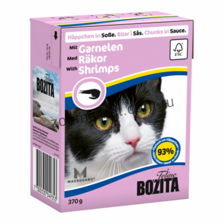 Bozita Консервы для кошек (кусочки в соусе Креветки) 370 гр