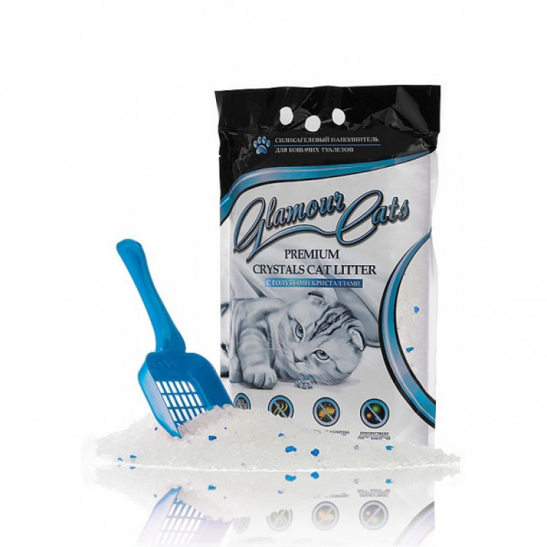 Glamour Cats Наполнитель силикагелевый с голубыми кристалами , 3,8л (1,7кг)