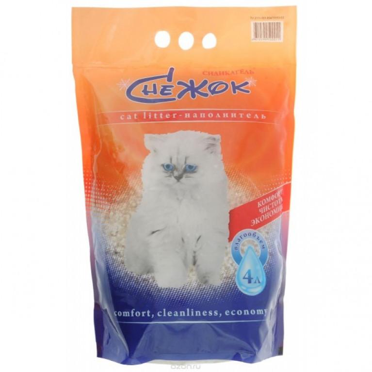 """Снежок """"Силикагель"""" наполнитель для кошачьего туалета 4л"""