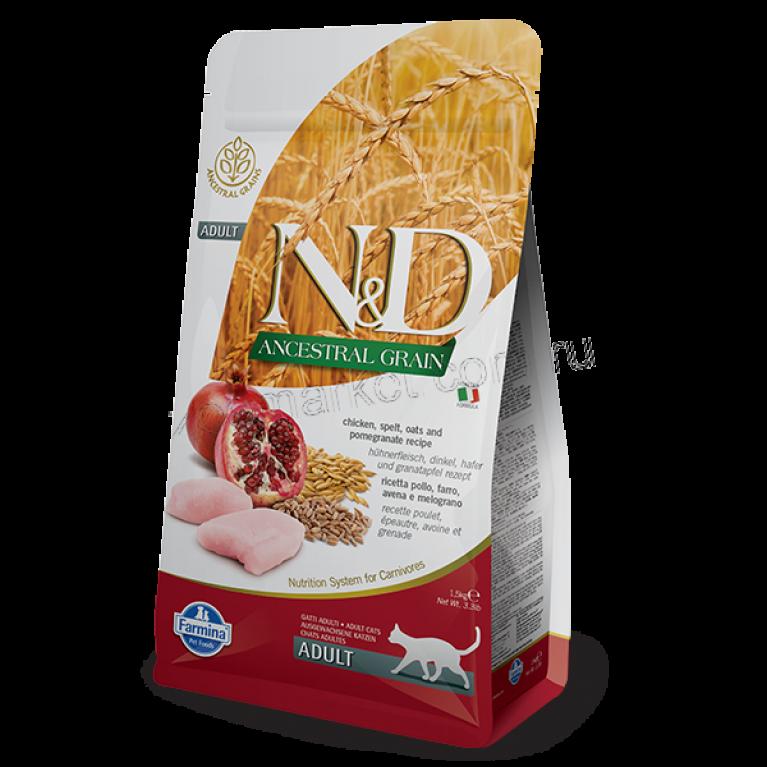 Farmina N&D Low Grain Chicken & Pomegranate ADULT/Низкозерновой корм для взрослых кошек (Спельта, овес, курица, гранат)