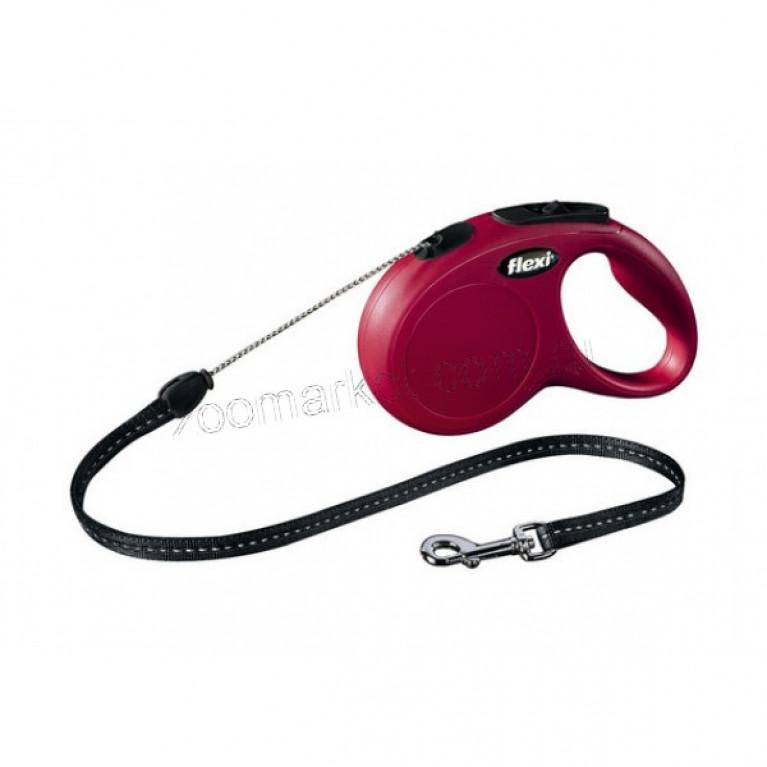 Flexi New CLASSIC (M) /Поводок-рулетка 5 метров (трос) для собак до 20 кг