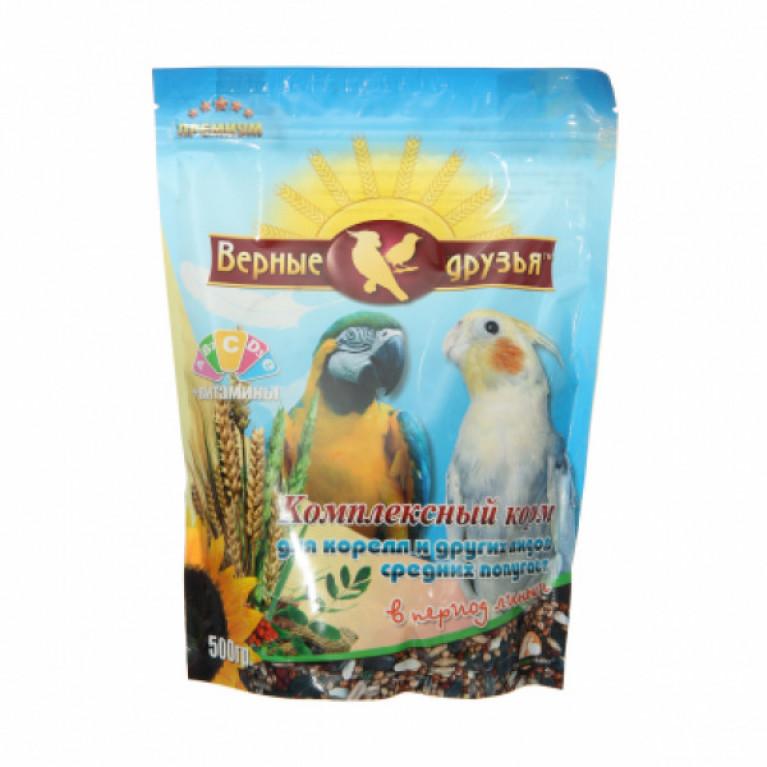 Верные Друзья Премиум  корм для средних попугаев в период линьки 500гр