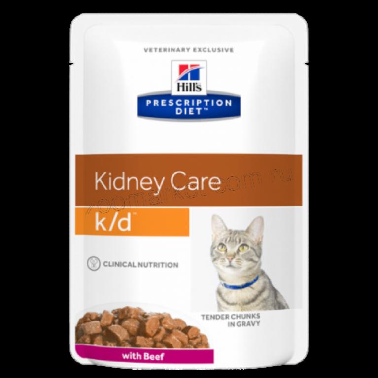 Hill's Prescription Diet K/D Пауч для кошек лечение заболеваний почек (Говядина) 85 г