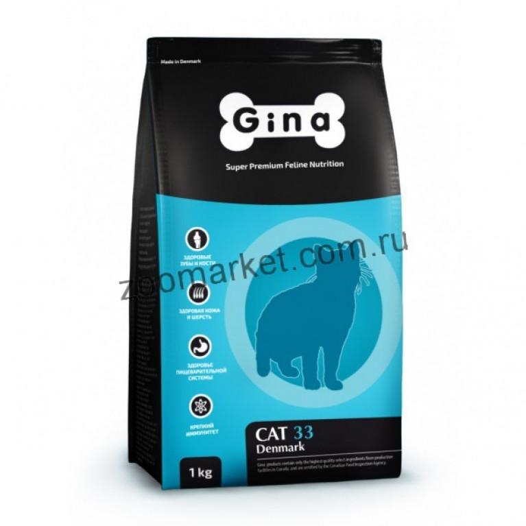 Gina Denmark Cat 33 Полнорационный сбалансированный корм для активных и выставочных кошек.