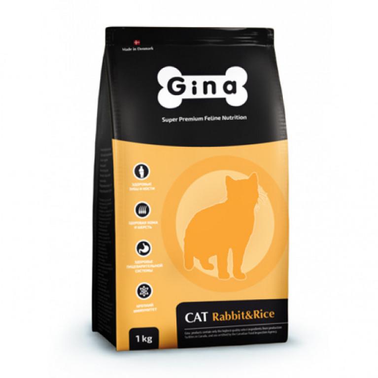 GINA Cat Rabbit&Rice Полнорационный сбалансированный корм кошек с нормальным уровнем активности,(кролики рис)