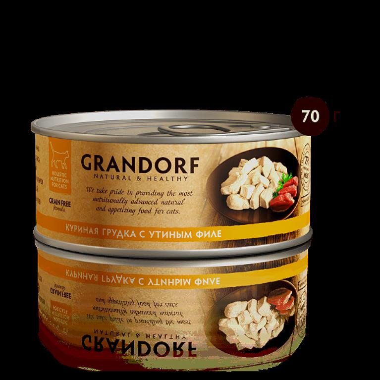 Grandorf конссерва для кошек Куриная грудка с утиным филе 70 г