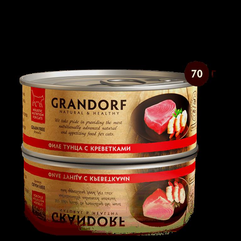 Grandorf консерва для кошек  Филе тунца с креветками 70 г