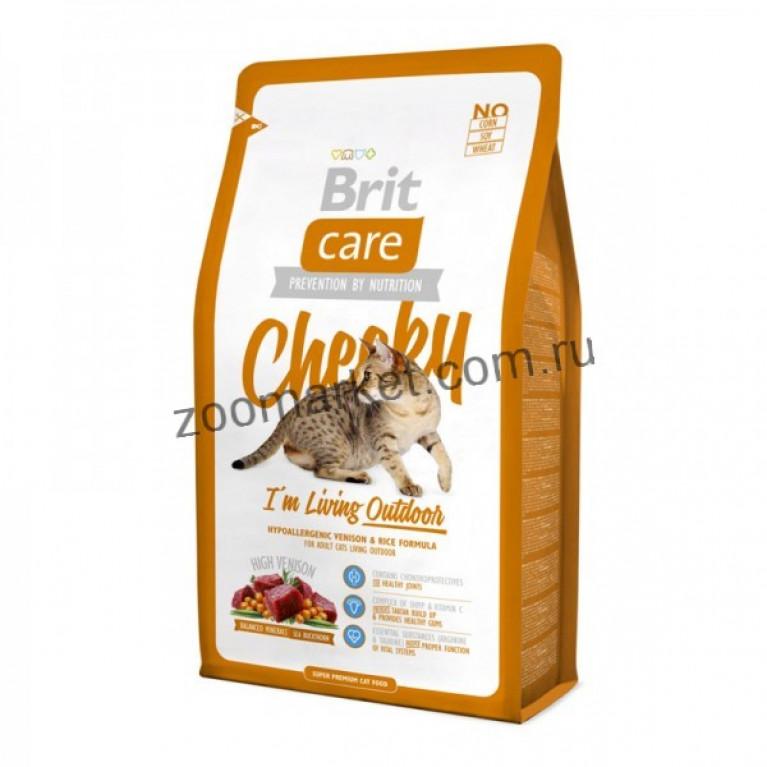 Brit Care Cat Cheeky/Высококачественный гипоаллергенный корм с олениной и рисом, для кошек, живущих на улице