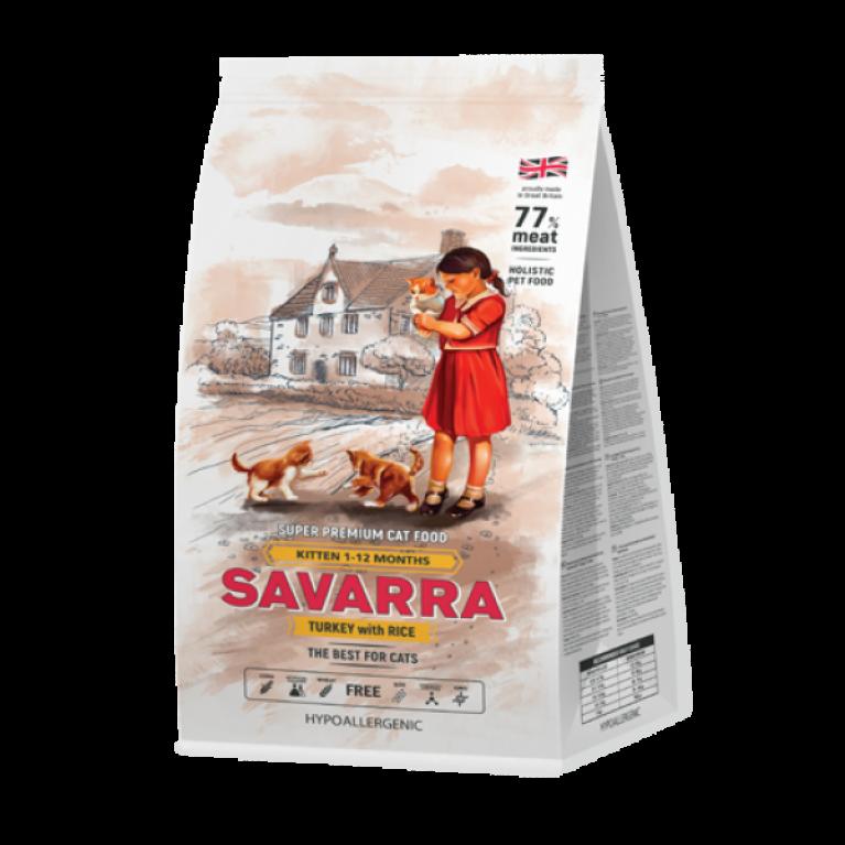 SAVARRA Kitten/ Сухой корм для котят с индейкой и рисом.