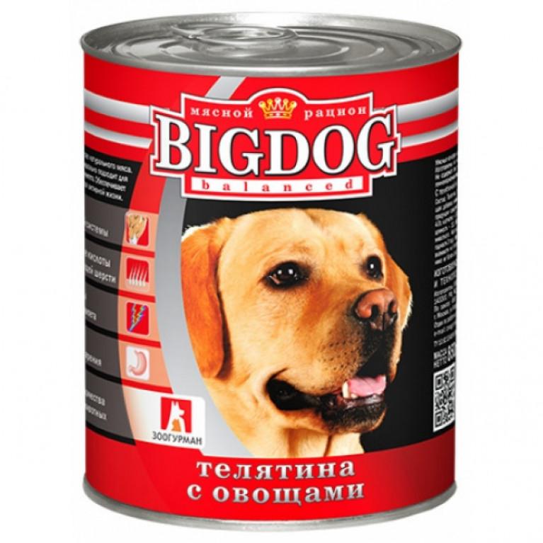 """Big Dog консервы для собак """"Телятина с овощами"""" 850гр"""