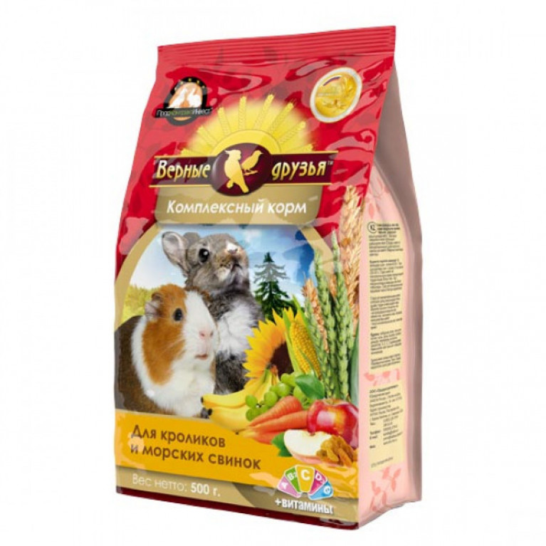 Верные Друзья корм для кроликов и морских свинок 500гр ( мягкая упаковка)