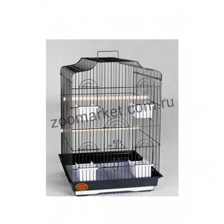 З/К/Клетка для птиц средняя с фигурной крышей 48*36*69см (4 кормушки)