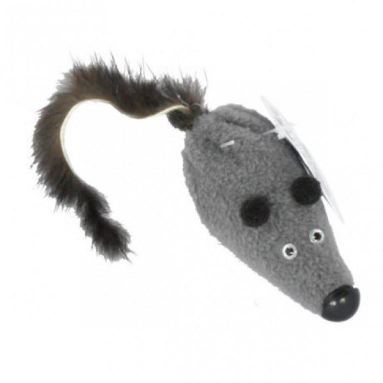 GoSi Игрушка Мышь M с норковым хвостом 6 см хвост из натуральной норки