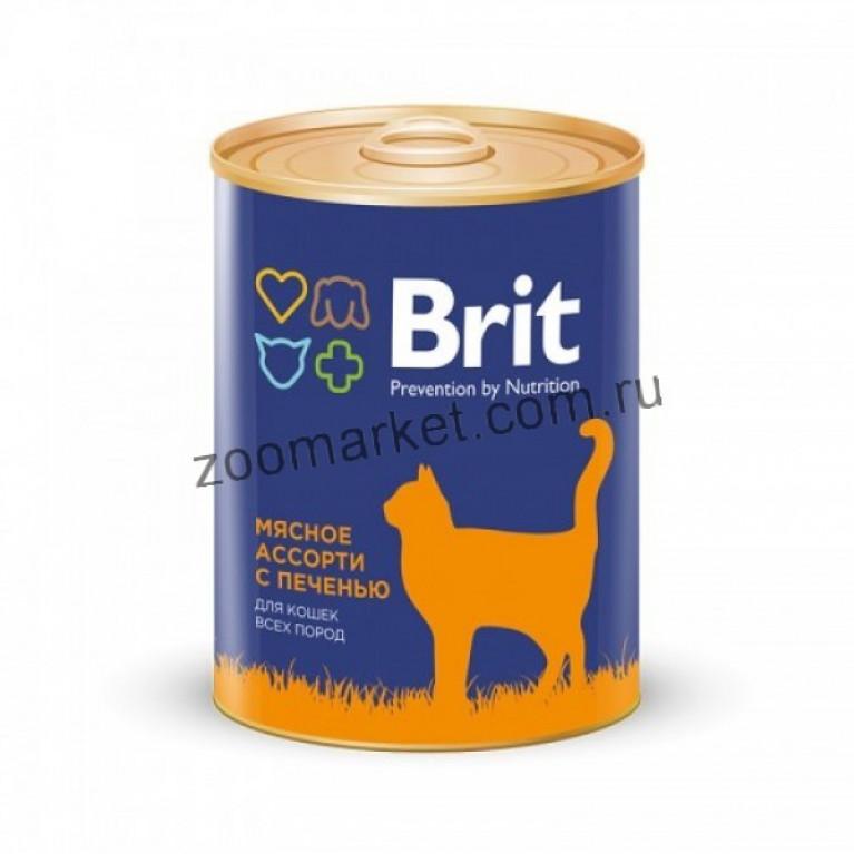 Brit Premium/Высококачественный влажный корм для кошек (Мясное ассорти с печенью), 340 гр