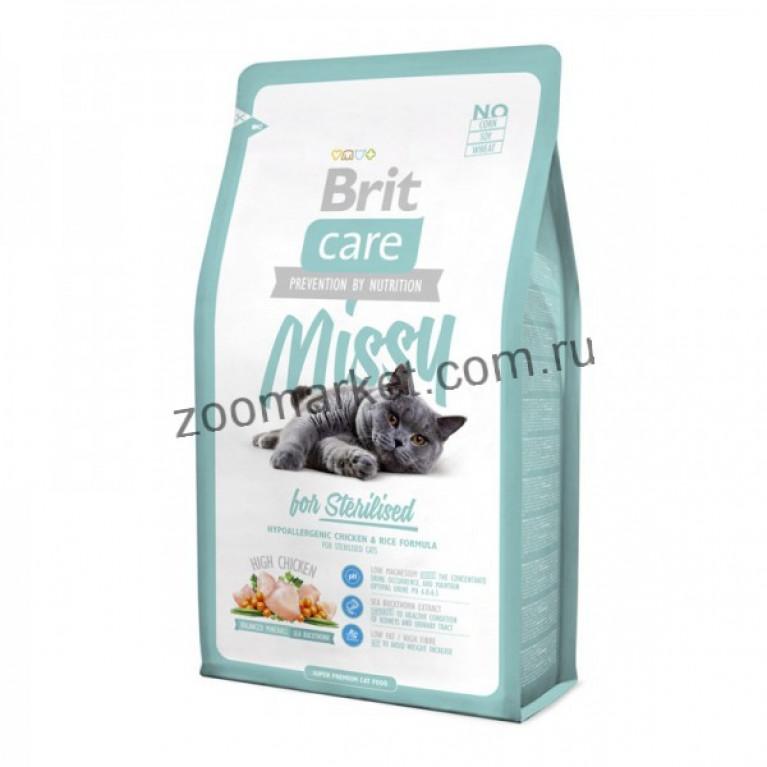 Brit Care Missy/Высококачественный гипоаллергенный корм с курицей и рисом для стерилизованных кошек