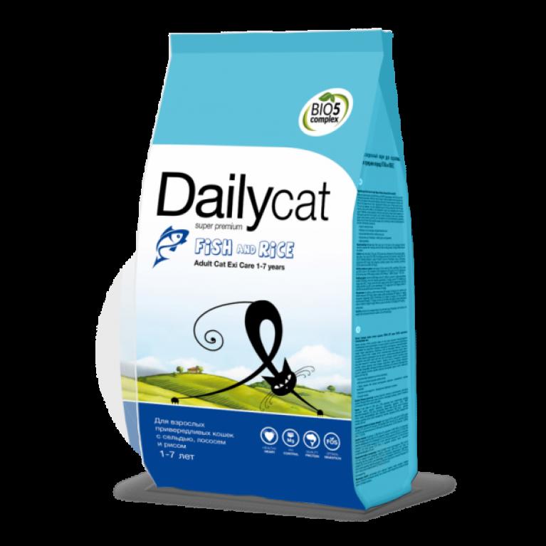 Dailycat ADULT EXI Care Fish & Rice/Для взрослых привередливых кошек с сельдью, лососем и рисом
