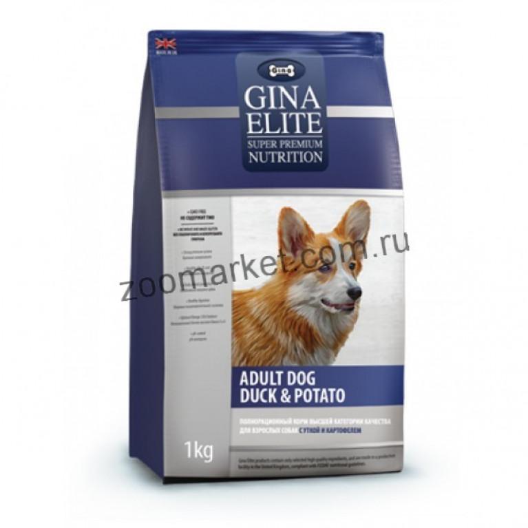 Gina Elite Adult Dog Duck & Potato/Корм высшей категории качества для взрослых собак (с уткой и картофелем)