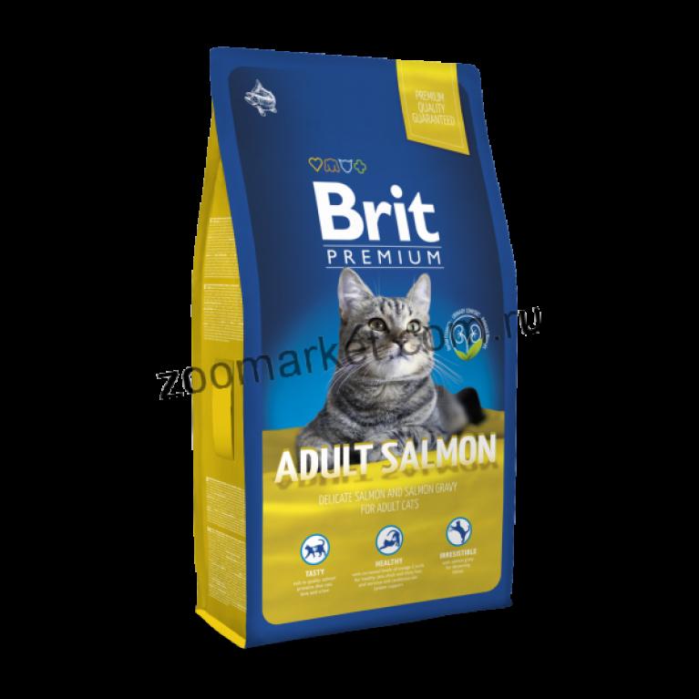 Brit Premium Cat Adult Salmon/Полнорационный сухой корм с лососем для взрослых кошек
