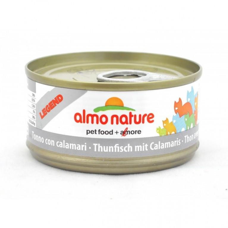 Almo Nature консервы для кошек с тунцом и кальмарами, 75% мяса, HFC 70 гр