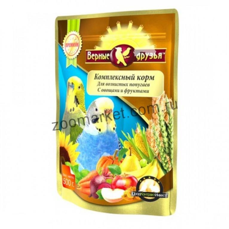 Верные Друзья Премиум Комплексный корм для волнистых попугаев  с овощами и фруктами 500гр