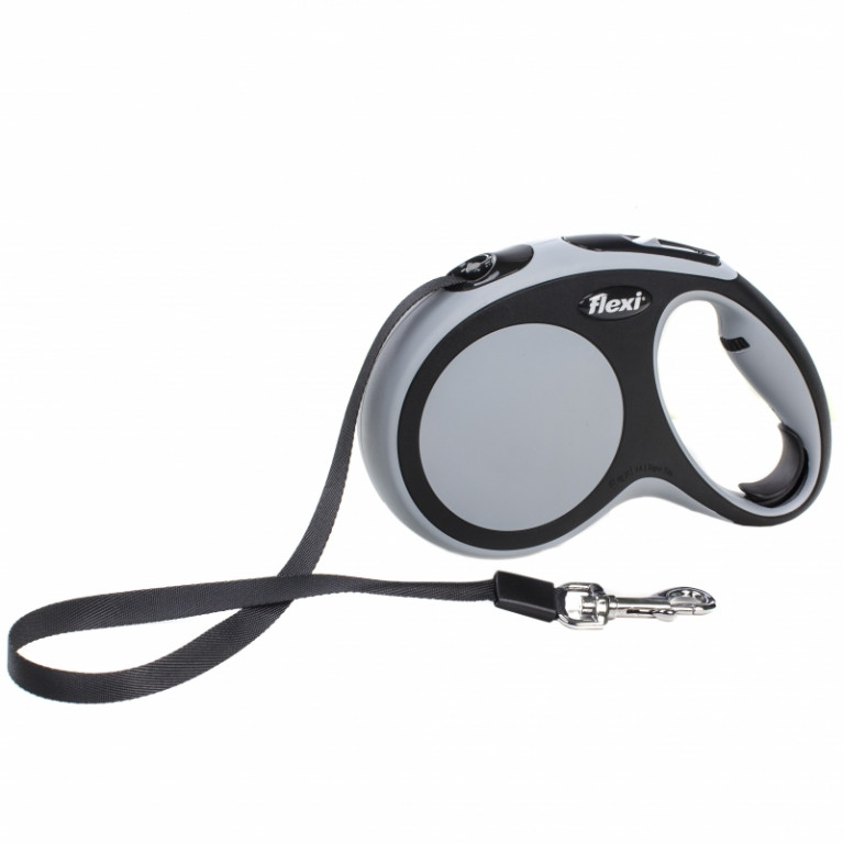 Flexi New Comfort L Поводок-рулетка ремень 5 метров для собак до 60 кг серая