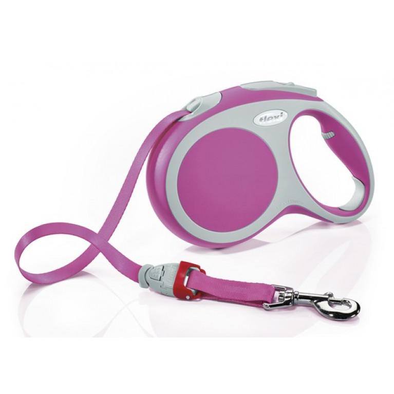 Flexi VARIO M Поводок-рулетка ремень 5 метров для собак 25 кг Розовая