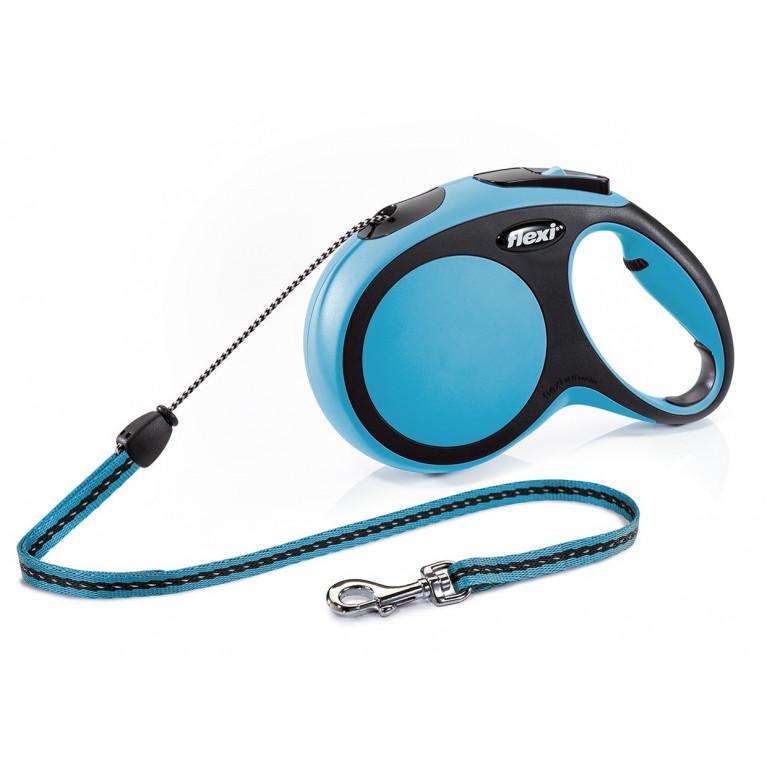 Flexi New Comfort S Поводок-рулетка трос 8 метров  для собак до 12 кг голубой