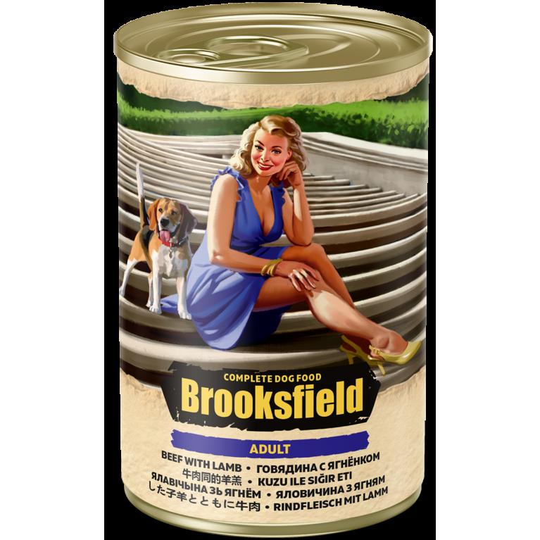 BROOKSFIELD ADULT ALL BREEDS консерва для взрослых собак всех пород (Говядина ягненок коричневый рис) 400гр