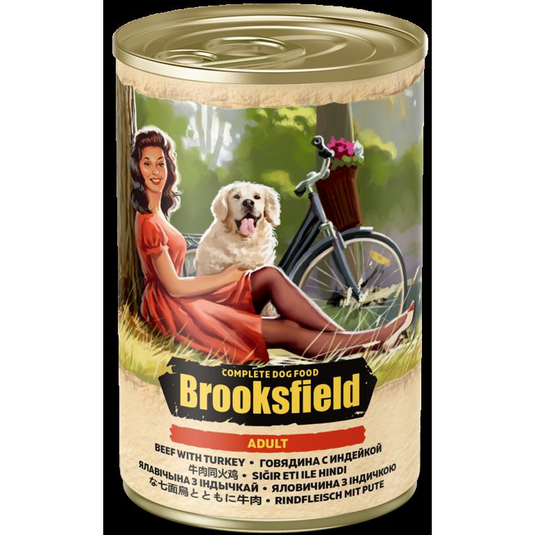 BROOKSFIELD ADULT ALL BREEDS консерва для взрослых собак всех пород (Говядина индейка коричневый рис) 400гр