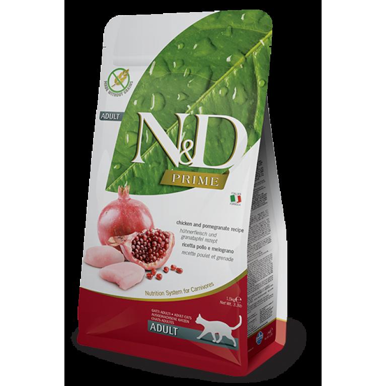 Farmina N&D PRIME LINE  Cat Chicken&Pomegranate Adult/Беззерновой корм для взрослых кошек (Курица, гранат)