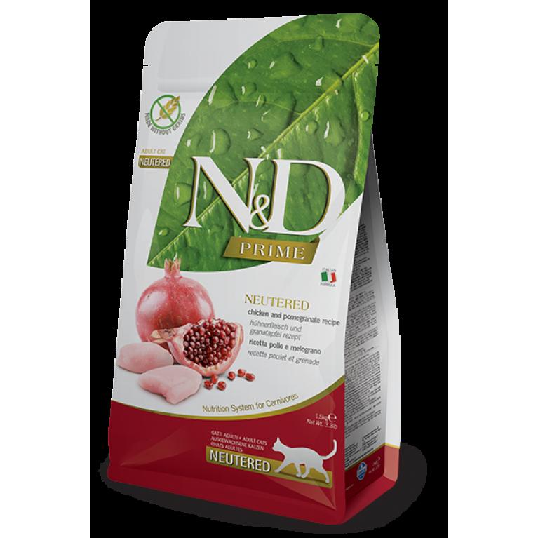 Farmina N&D PRIME LINE  Cat Neutered Chicken&Pomegranate Беззерновой корм для стерилизованных кошек и кастрированных котов Курица с Гранатом