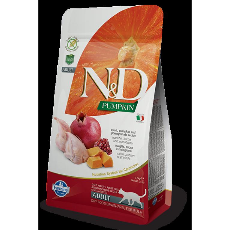 Farmina N&D Grain Free Quail & Pumpkin Беззерновой сухой корм для взрослых кошек с перепелом гранатом и тыквой 300 гр