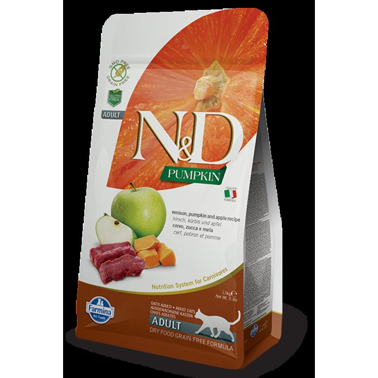 Farmina N&D Grain Free Venison & Pumpkin/Беззерновой сухой корм для взрослых кошек (оленина, яблоко и тыква)