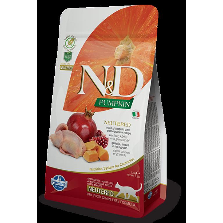 Farmina N&D Grain Free Quail & Pumpkin Neutered Сухой беззерновой корм для стерилизованных кошек и кастрированных котов с перепелом, тыквой и гранатом