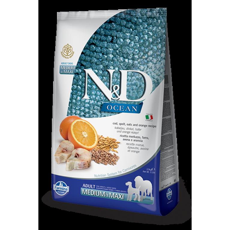 Farmina N&D OCEAN Adult MEDIUM/MAXI Cod, Spelt, Oats & Orange Низкозерновой сухой корм для взрослых собак крупных и средних пород с треской и апельсином