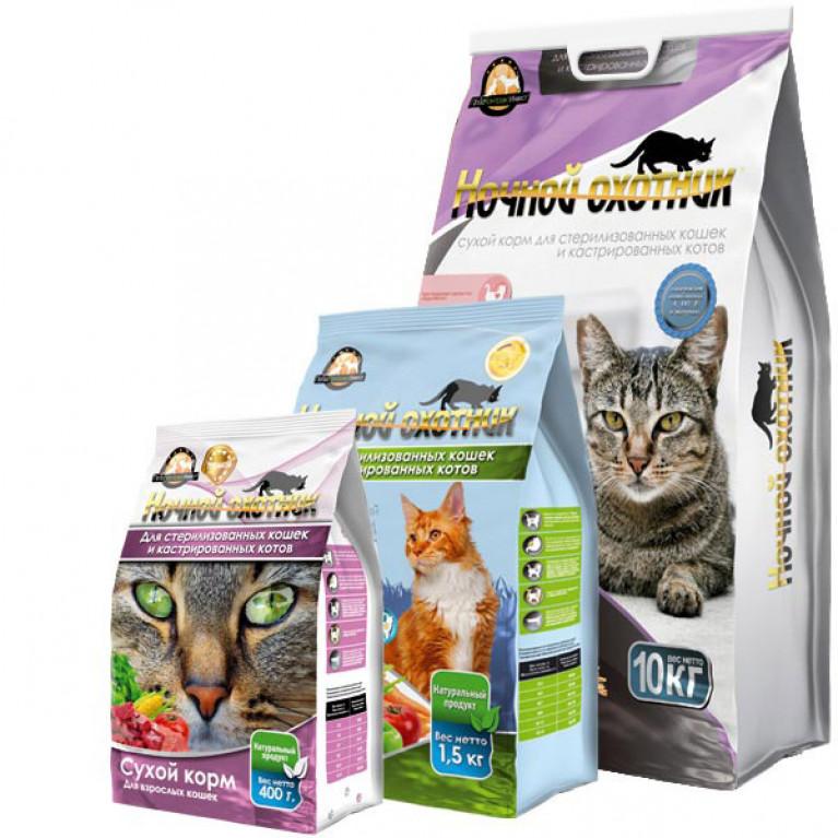 Ночной охотник Сухой корм для стерилизованных и кастрированных кошек