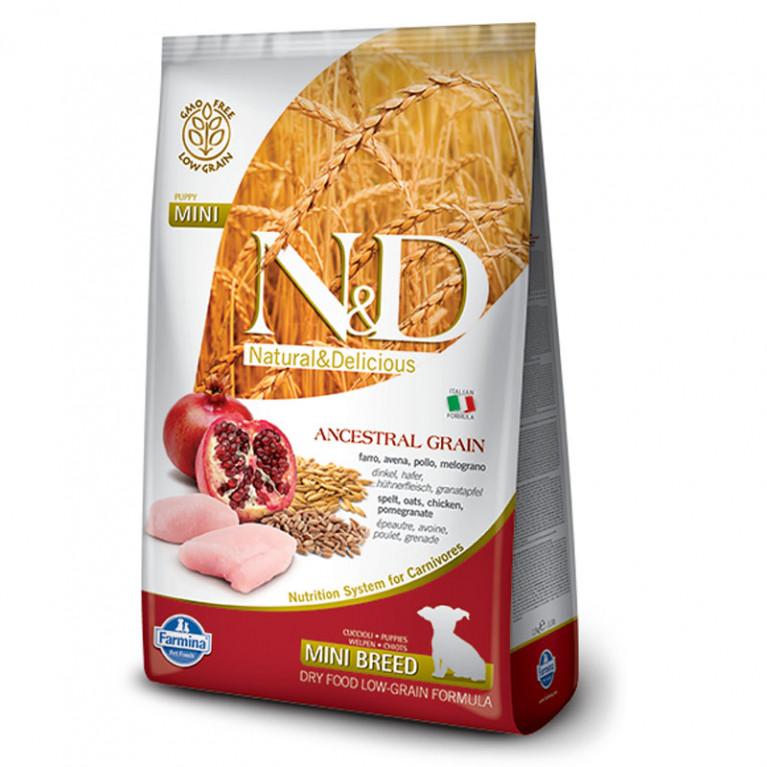 РАСПРОДАЖА Farmina N&D Ancestral Grain Puppy mini Низкозерновой корм для щенков мелких пород, беременных и кормящих сук (Спельта, овес, курица, гранат) 2,5 кг