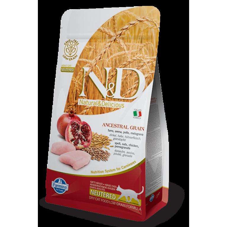 РАСПРОДАЖА Farmina N&D Ancestral Grain Chicken & Pomegranate Neutered /Низкозерновой корм для кастрированных и стерилизованных кошек (Спельта, овес, курица, гранат)