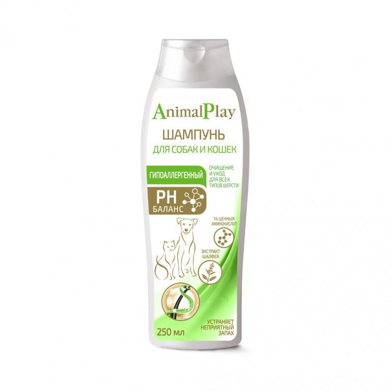 Animal Play Гипоаллергенный шампунь с аминокислотами и экстрактом шалфея для собак и кошек - 250 мл