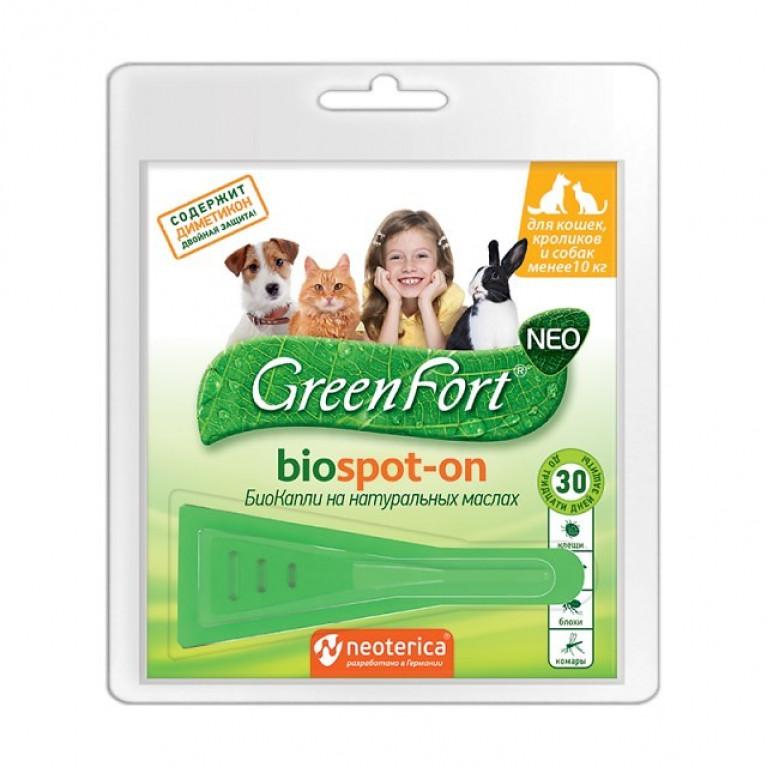 Green Fort NEO Биокапли для кошек, кроликов и собака до 10кг (1 моно пип)