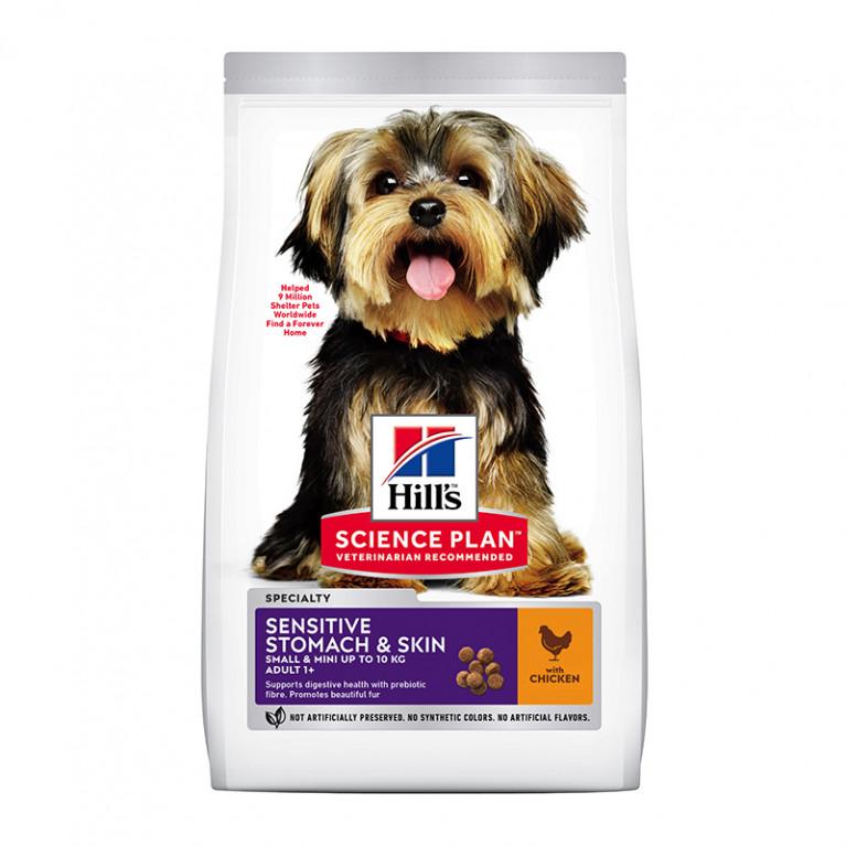 Hill's Science Plan Canine Adult Small & Miniature Sensitive Stomach & Skin with Chicken для взрослых собак малых и миниатюрных пород с чувствительным желудком/кожей