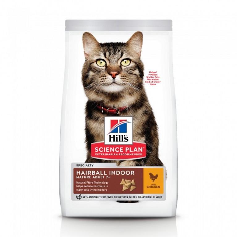 Hill's SP Hairball Control Senior Сухой корм для кошек от 7 лет вывод шерсти из желудка 1,5 кг