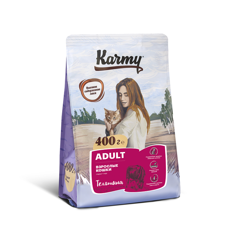KARMY ADULT корм для взрослых кошек старше 1 года  (Телятина)