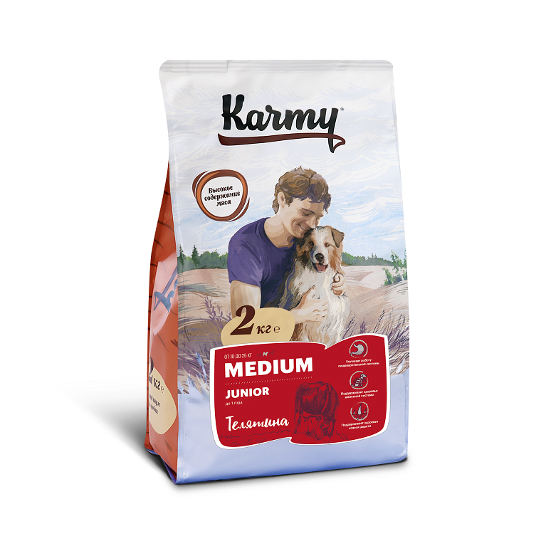 KARMY MEDIUM JUNIOR корм для щенков средних пород в возрасте до 1 года (Телятина)